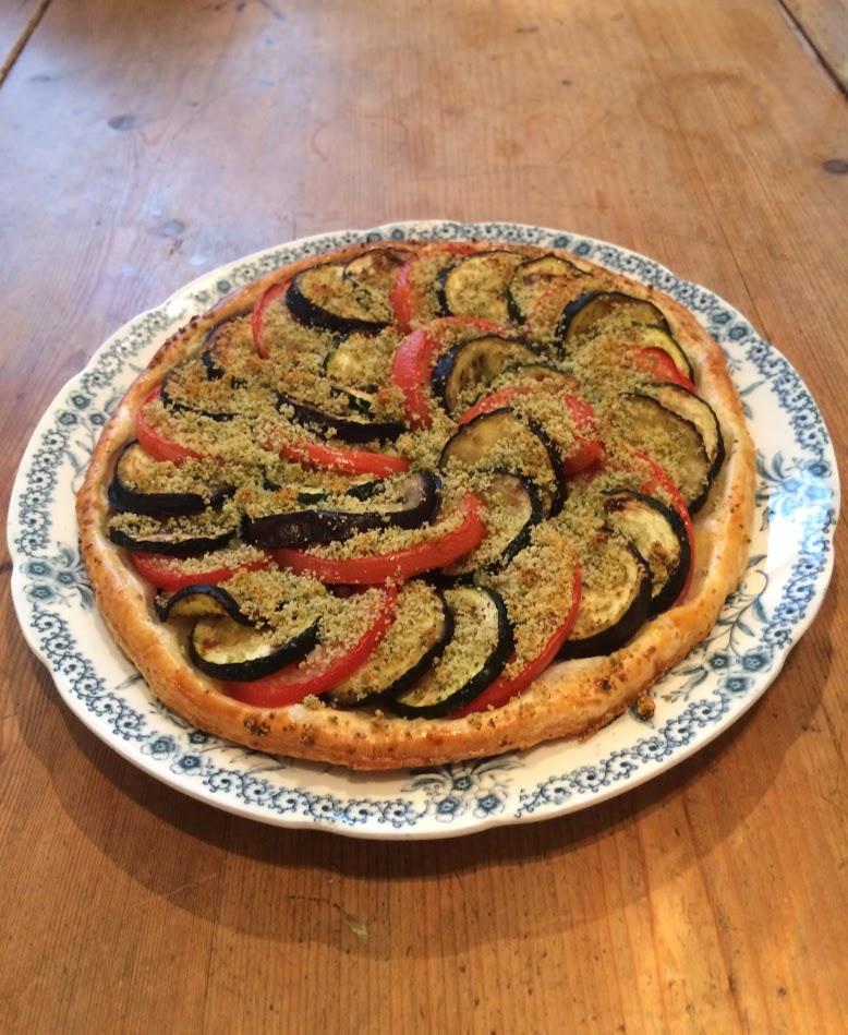 Aubergine, tomaat en courgette tian