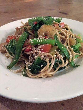 mie met garnalen en amsoi, amsoi, groenten, recept, biologisch, koken, gezond