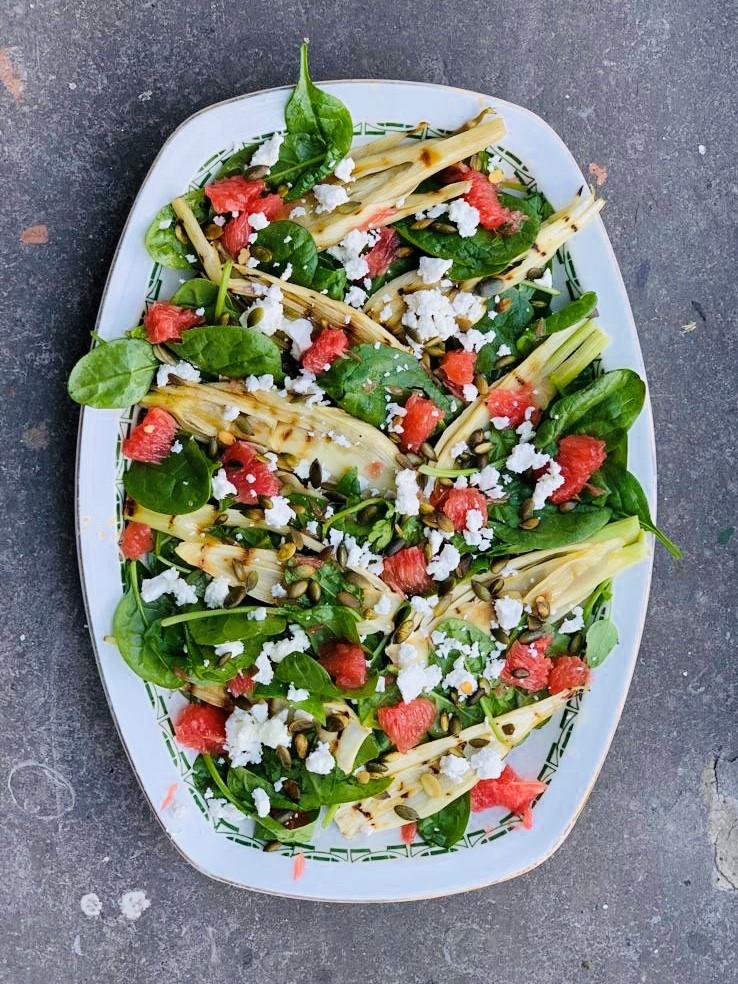 Spinazie salade met gegrilde venkel en grapefruit, vegetarisch, recept, gezond, makkelijk, seizoensgroenten, biologisch