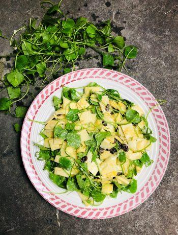 Salade van winter postelein en koolraap. Een heerlijk frisse en gezonde salade. heerlijk als bijgerecht of als lichte maaltijd salade.